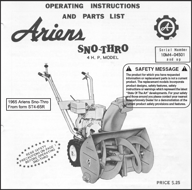 the ariens 1960 s and 1970 s sno thro info site rh scotlawrence github io Snow King Snowblower Parts Craftsman Snowblower Parts